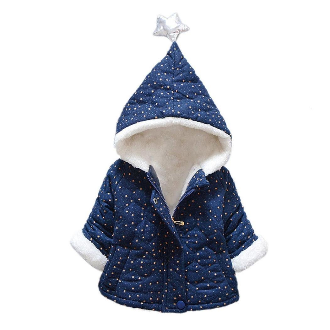 Coper Little Girls Winter Warm Fur Hooded Coat Fashion Thick Jacket (12 Month, Navy) by Coper (Image #1)