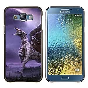 TECHCASE---Cubierta de la caja de protección para la piel dura ** Samsung Galaxy E7 E700 ** --Dragón alas púrpuras del relámpago Alas