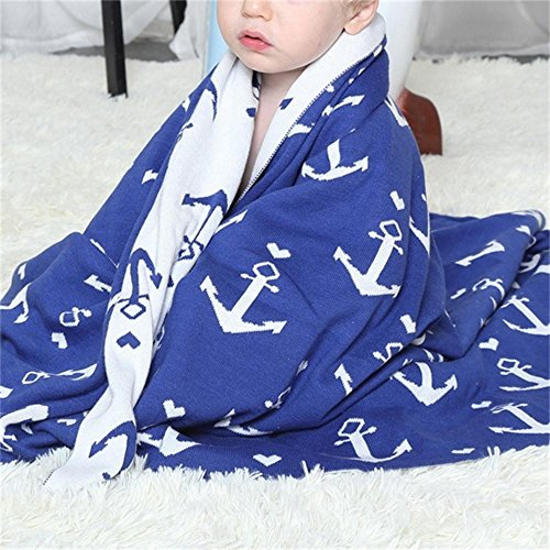 Brandream Baby Knitted Cotton Blanket Nautical Anchor Print Reversible Blanket Double Layer Breathable Blue & White Crib Toddler Blanket for Boys, 30
