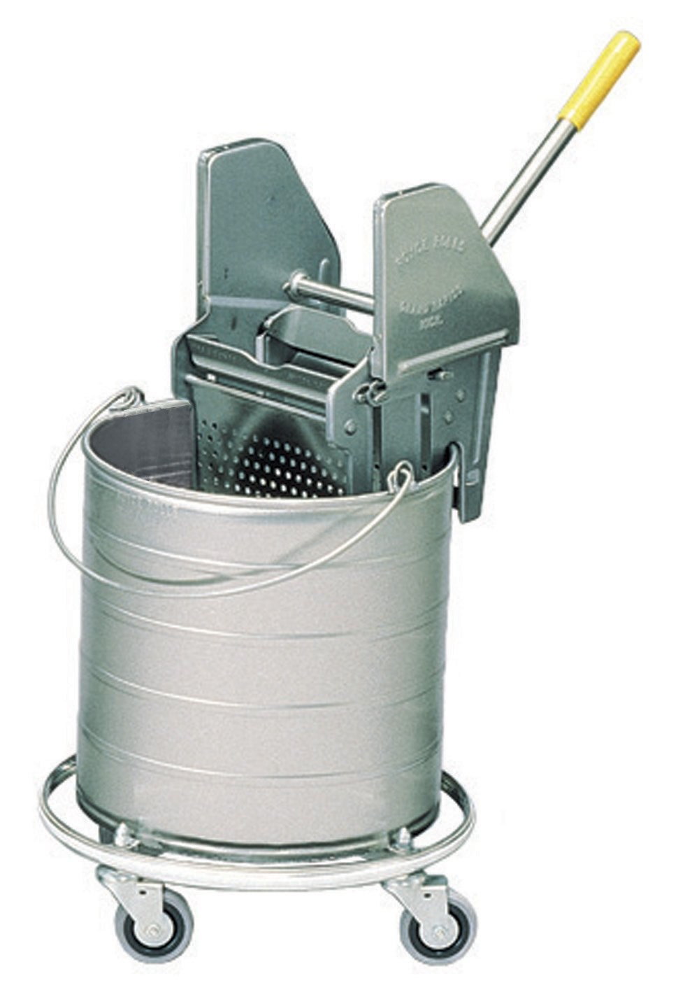 Royce Rolls Stainless Steel 8-Gallon Round Mop Bucket and 16-24 oz. Mop Wringer Combo on 3'' Casters - #428