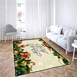 Christmas Area Rugs for Living Room Noel Ornaments with Birch Branch Cute Ribbons Bells Candy Canes Art Image Non-Slip Backing (6'x7') Golden Red Green
