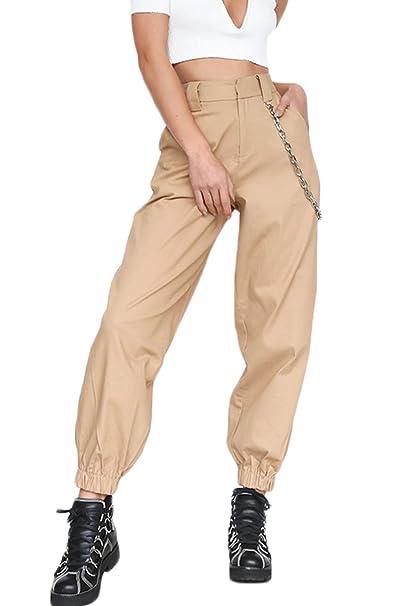 95b8005fd90d8 Yacun Mujer Casual Pantalones Cargo Pantalon Hip Hop Jogger con Cadena  Danza Streetwear Boyfriend Harem  Amazon.es  Ropa y accesorios