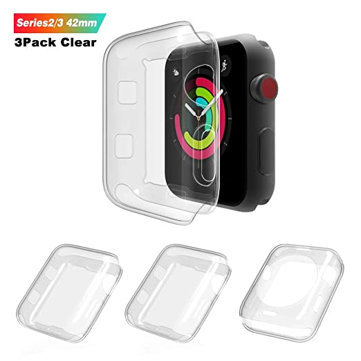 Amazon.com: [3Pack] AOPETIO for Apple Watch Screen Protector 42mm for iWatch Series 3 & 2, 0.2mm TPU Full-Coverage HD Soft Case Cover Ultra thin (Clear): ...