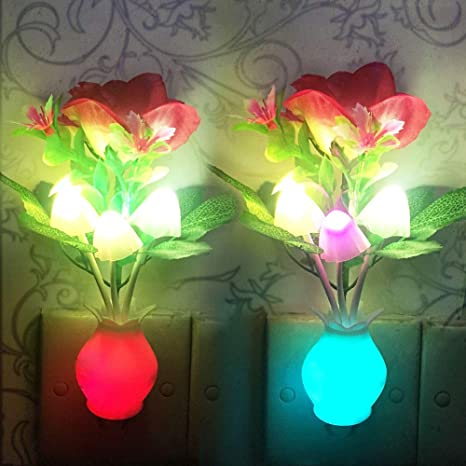 Romantic Flower Mushroom LED Night Light Sensor Baby Bed Lamp Decor US Plug