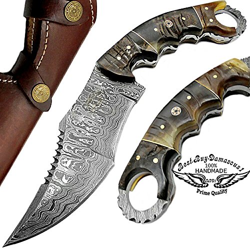 Best.Buy.Damascus1 Ram Horn 9.5'' Fixed Blade Custom Hand made Damascus Steel Hunting Knife 100% Prime Quality With Leather Sheath