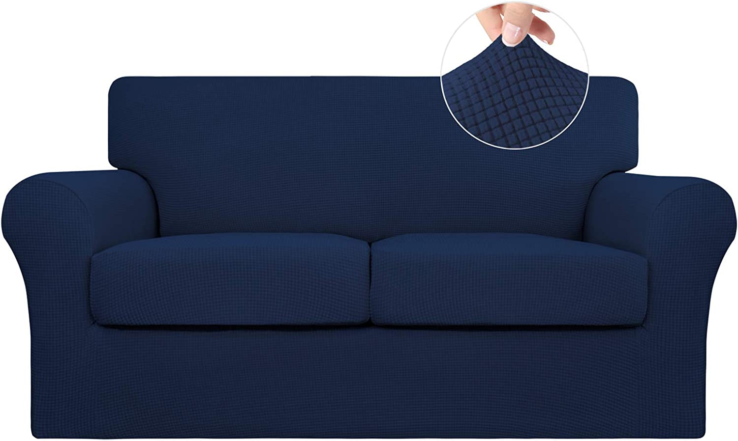 Easy-Going 3 Pieces Stretch Couch Cover Sofa Cover for Dogs Washable Sofa Slipcover for 2 Separate Cushion Couch Spandex Jacquard Fabric Elastic Furniture Protector for Pets,Kids(Navy, Loveseat)