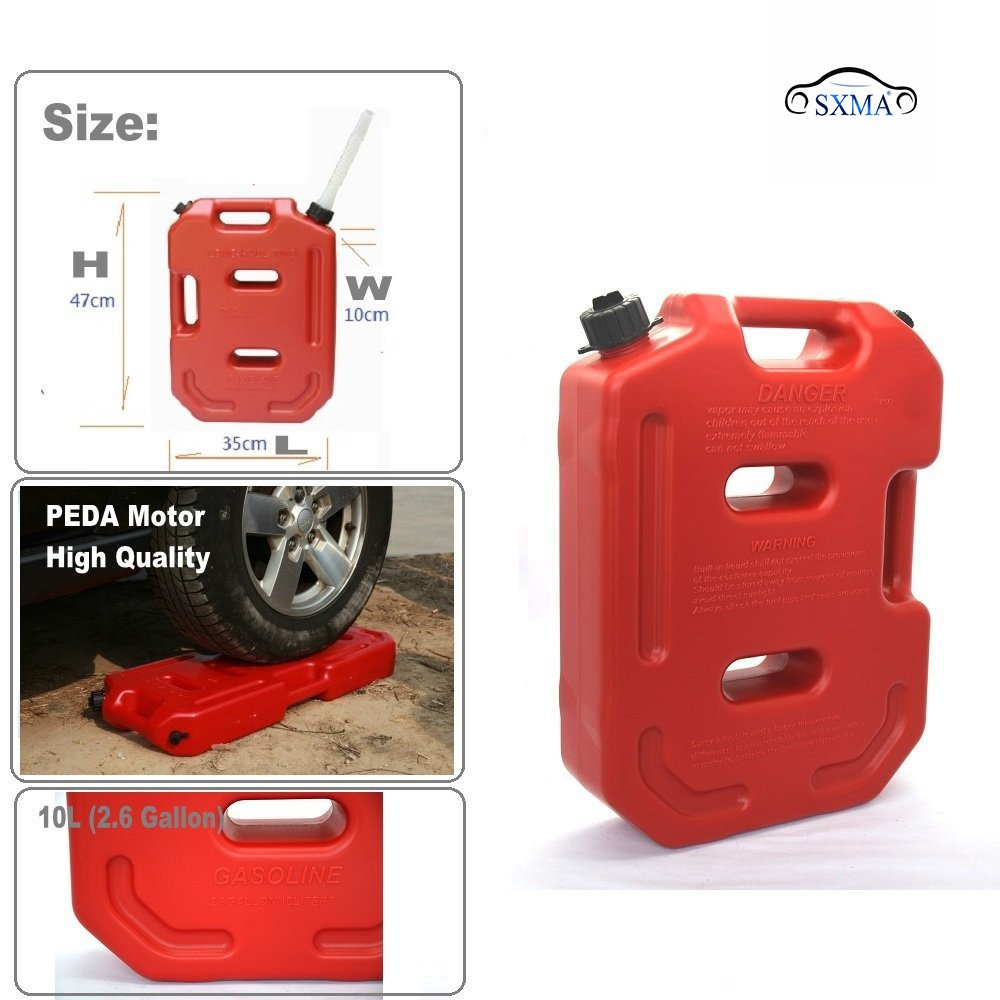 SXMA 10L Fuel Tank Cans Spare 2.6 Gallon Portable Fuel Oil Petrol Diesel Storage Gas Tank Emergency Backup (Pack of 1) Red by SXMA (Image #3)