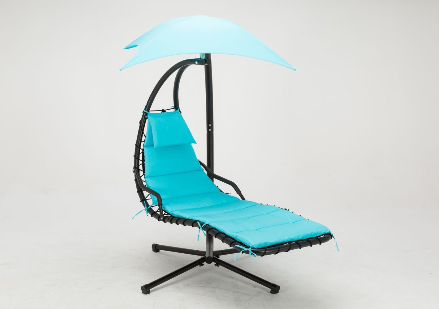 Mcombo Hanging Chaise Lounger Chair Arc Stand Air Porch Swing Hammock Chair Canopy Umbrella, Teal