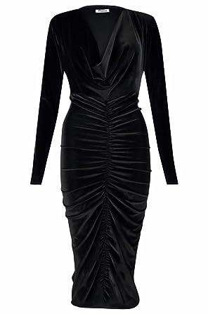 0fa20b06a48 Islander Fashions Womens Crushed Ruched Velvet Cowl Neck Midi Dress Ladies Long  Sleeve Midi Dress Black