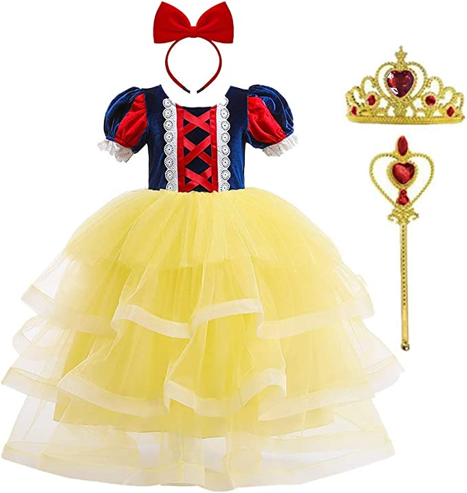 IWEMEK Vestidos de Princesa Disfraz de Blancanieves Corona Varita ...