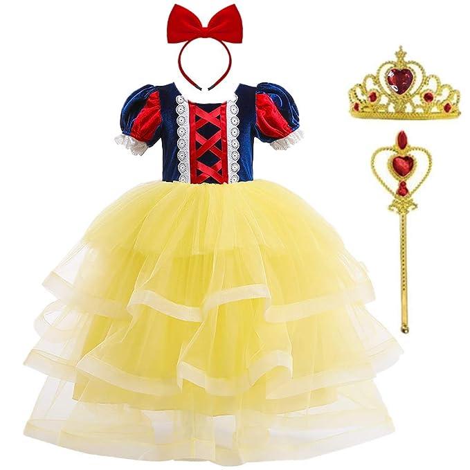 OBEEII Disfraz de Blancanieves Niña Vestidos Traje Costume ...