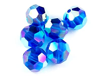7ee4252f6 Image Unavailable. Image not available for. Color: 50 pcs 6mm Swarovski  Crystal Round Beads 5000, Capri Blue AB ...