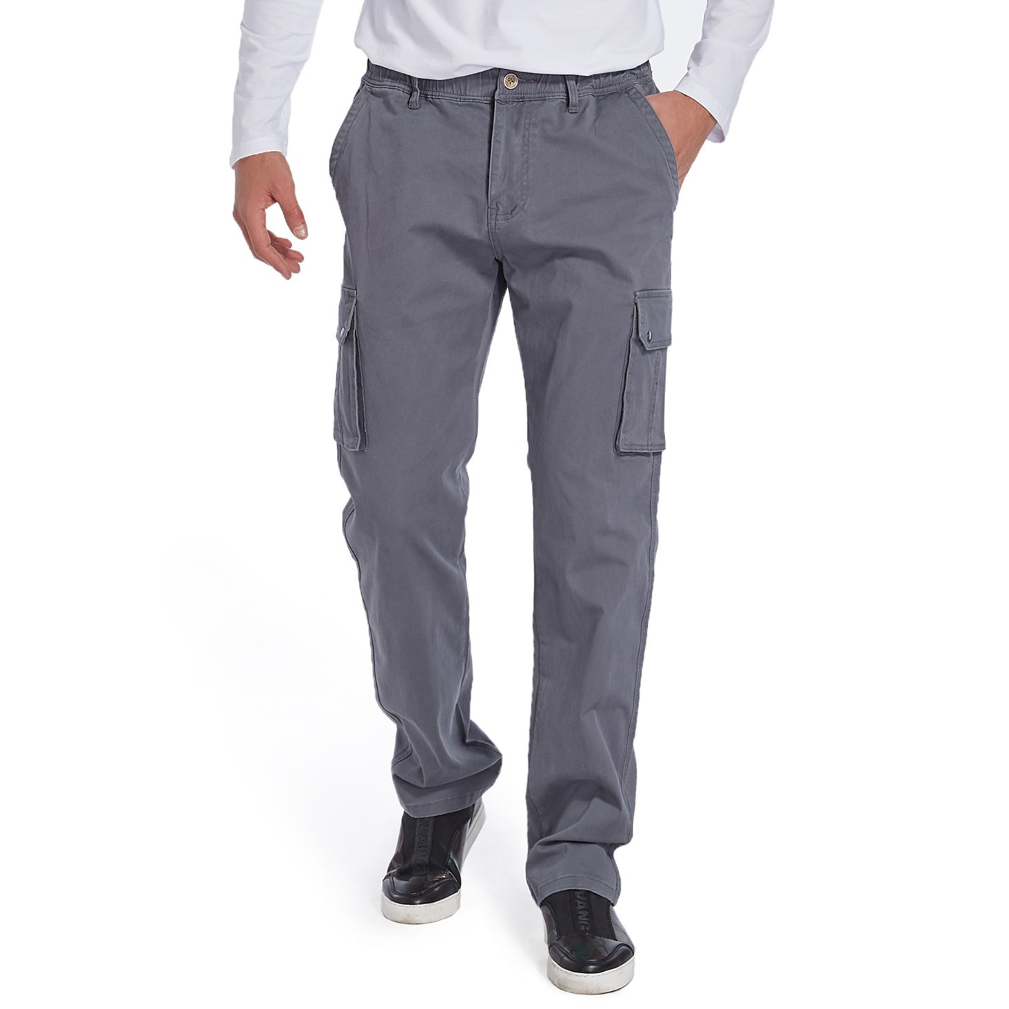 Eaglide Men's Relaxed Fit Elastic Cargo Pant, Mens Pockets Cotton Tactical Pants (Silver, 36W × 31L)