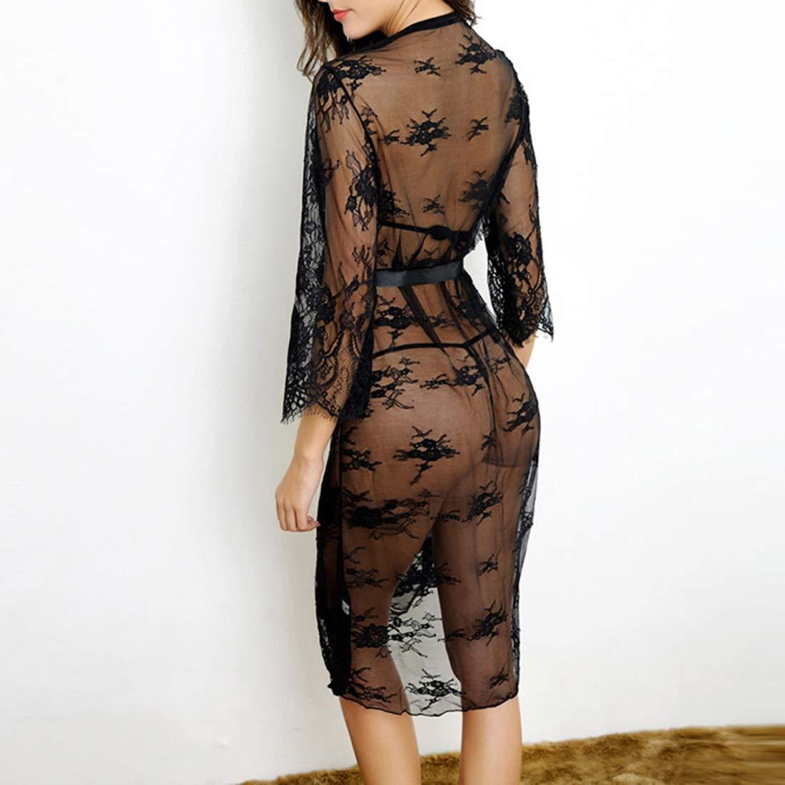 JOYIYUAN Señoras Delanteras Negras de Encaje Pijamas de Encaje Atractivos Vendajes Atractivos Encaje Vestidos Largos de Noche de Tres Piezas Un tamaño M a13639