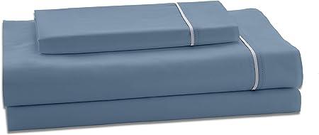 ESTELIA - Juego de sábanas de satén Color Azul (4 Piezas) - Cama de 160 cm. - 100% Algodón de 300 Hilos - con Bajera Ajustable de 35 cm. de Altura.: Amazon.es: Hogar