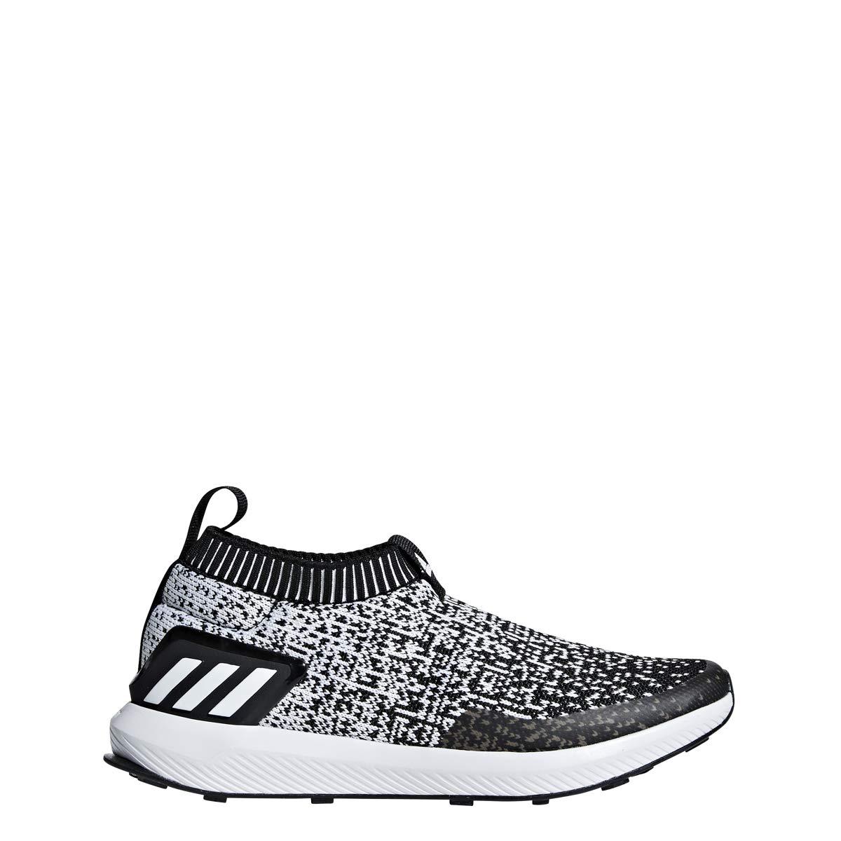 adidas Unisex RapidaRun Laceless Running Shoe White/Black, 5.5 M US Big Kid