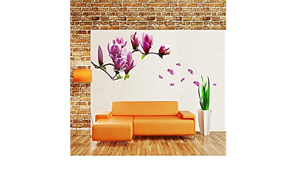 Amazon.com: JEWH Purple Magnolia Flower Wall Stickers Bedroom Parlor Wall Stickers Home Decor Living Room Paper Sticker Vinyl Wall Decals: Home & Kitchen