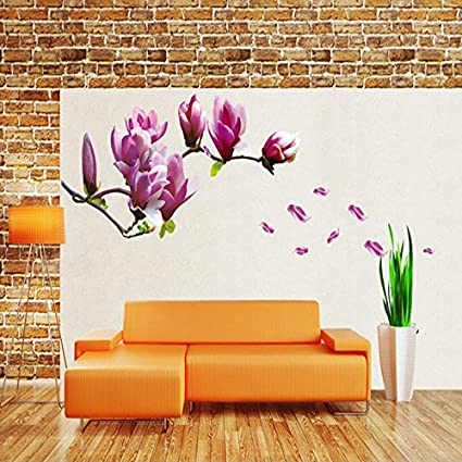 JEWH Purple Magnolia Flower Wall Stickers Bedroom Parlor Wall Stickers Home Decor Living Room Paper Sticker
