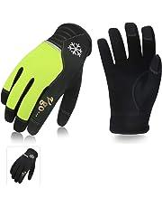 Vgo... Glove Guanti da Lavoro Invernali, Guanti da Lavoro Uomo, Caldi con Touch Screen, Multifunzione (2 Paia, Nero + Verde, 8/M & 9/L & 10/XL)