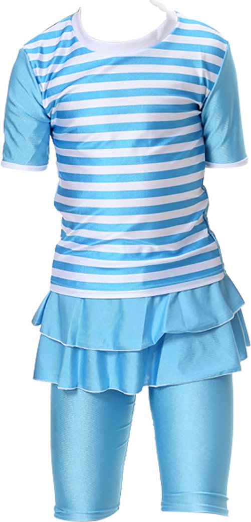Ababalaya Muslim Islamic Girls SPF UPF 50+ UV Rash Guard 2pcs Ruffle Hem Stripe Swimsuit,Sky Blue,XL