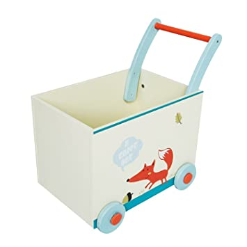 Labebe Baby Walker with Wheel, White Fox Printed Wooden Push Toy, 2-in