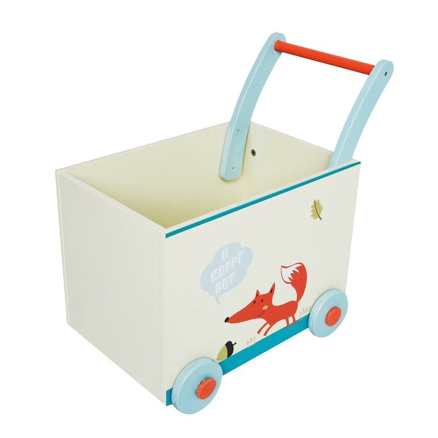 Labebe Baby Walker with Wheel, White Fox Printed Wooden Push Toy, 2-in-1 Wooden Activity Walker for Baby 1-3 Years, Baby Wagon/Infant Baby Walker Wagon/Baby Learning Walker/Push Pull Toy/Walk Walker