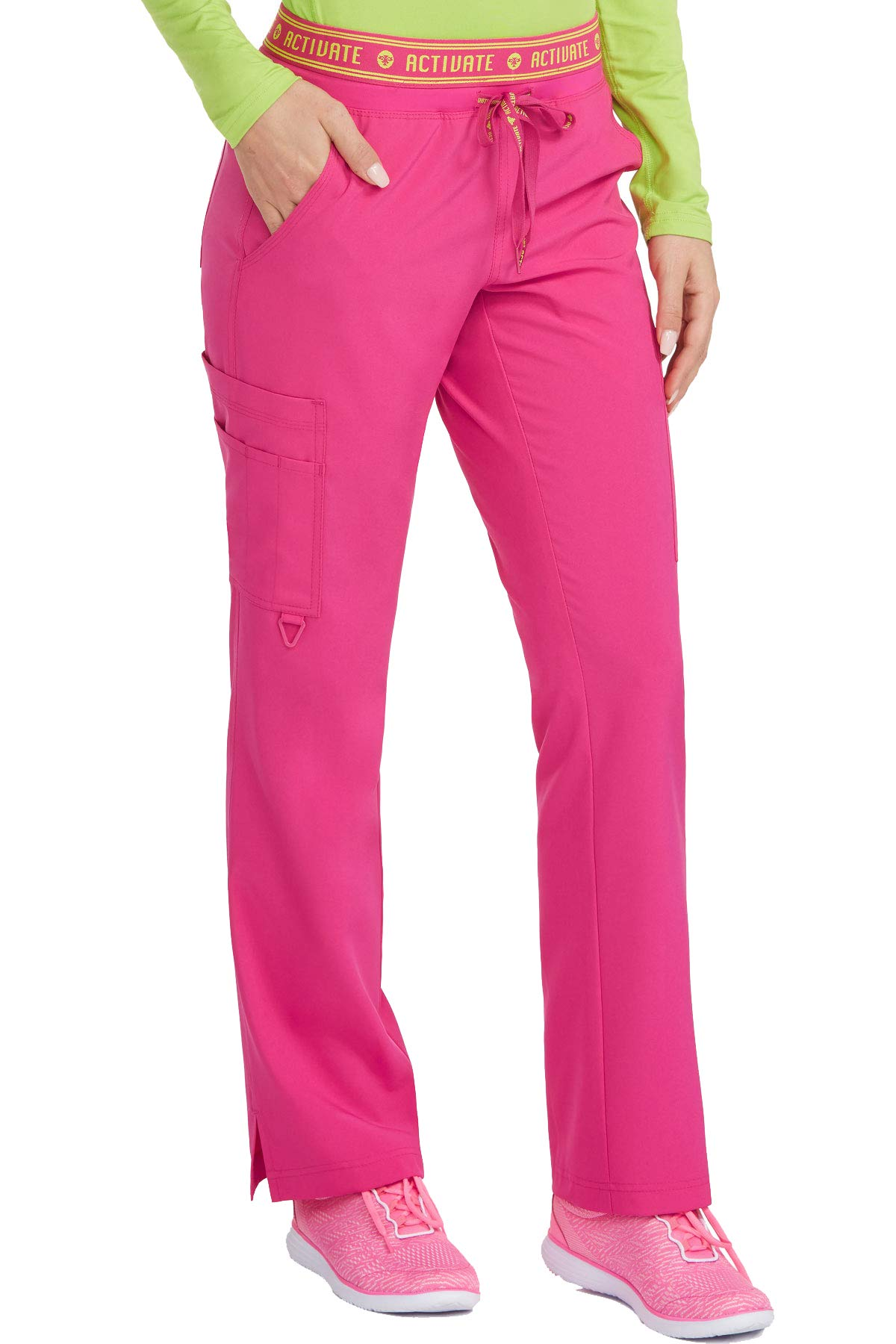 Med Couture Activate Scrub Pants Women, Flow Yoga 2 Cargo Pocket Pant, Pink Punch, XXX-Large