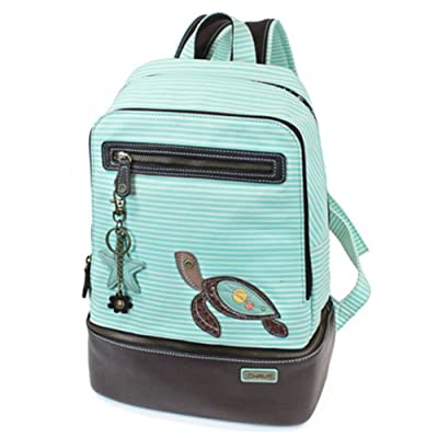 Chala Backpack Style Purse Striped with detachable Key Chain Fob Charm (Teal Stripe) | Kids' Backpacks