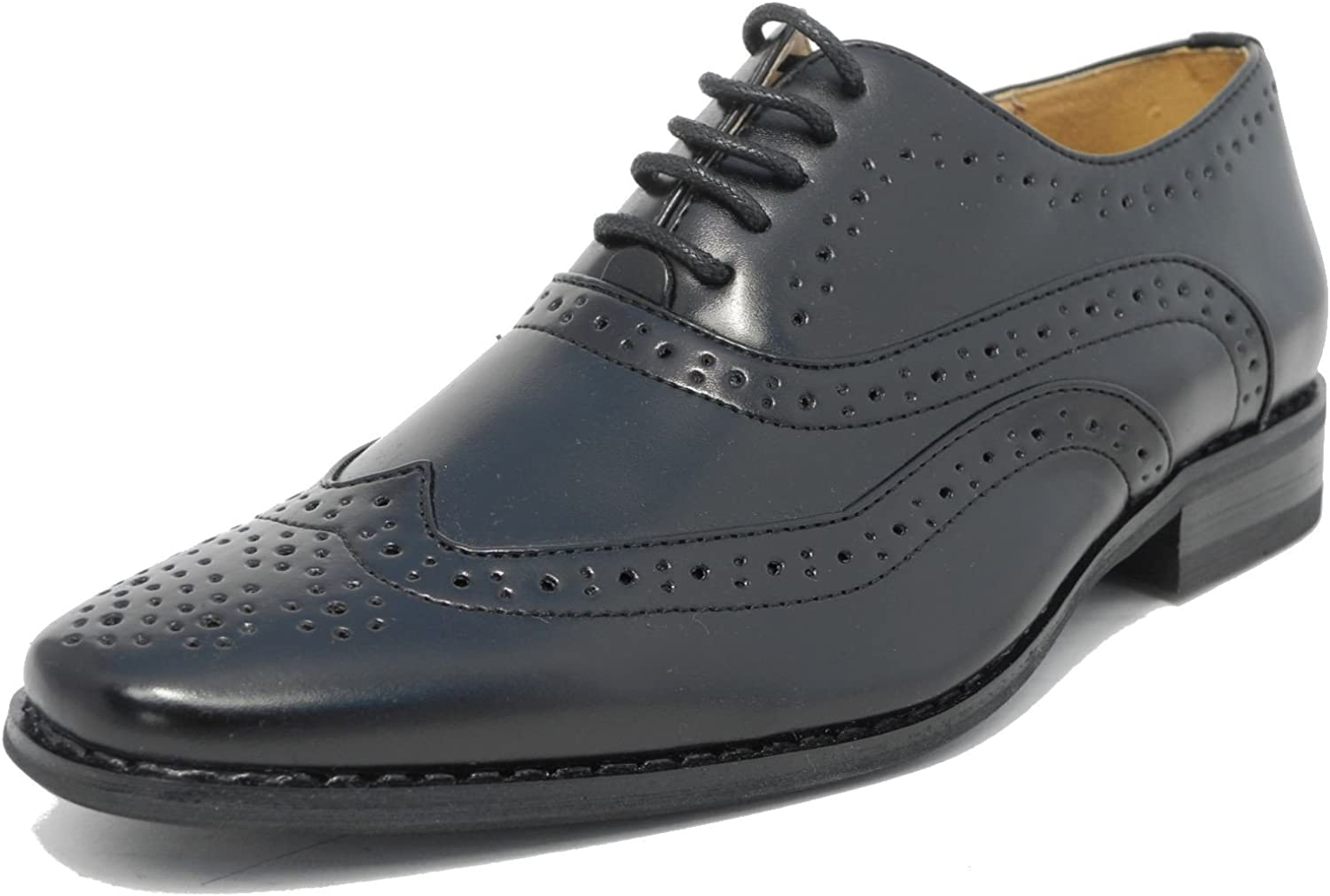 Boys Black Leather Lined Lace Up Smart