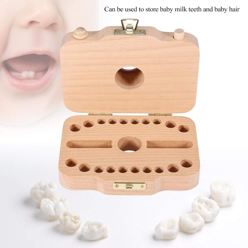 Baby Z/ähne Speichern Box Organizer Z/ähne Keepsake Box Holz Milchzahn Sammlung Aufbewahrungsbox Souvenir Box Fall f/ür Kinder Grau