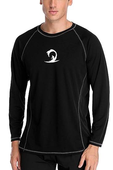 44e55714320e64 Rash Guard Men Loose fit Long Sleeve Rashguard Shirts Solid Swimming Shirts  Medium Black