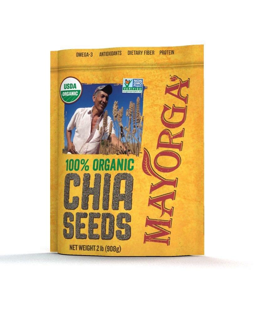 Mayorga Organics Chia, 2 lb resealable bag, 100% USDA Organic Certified, Non-GMO, Direct Trade