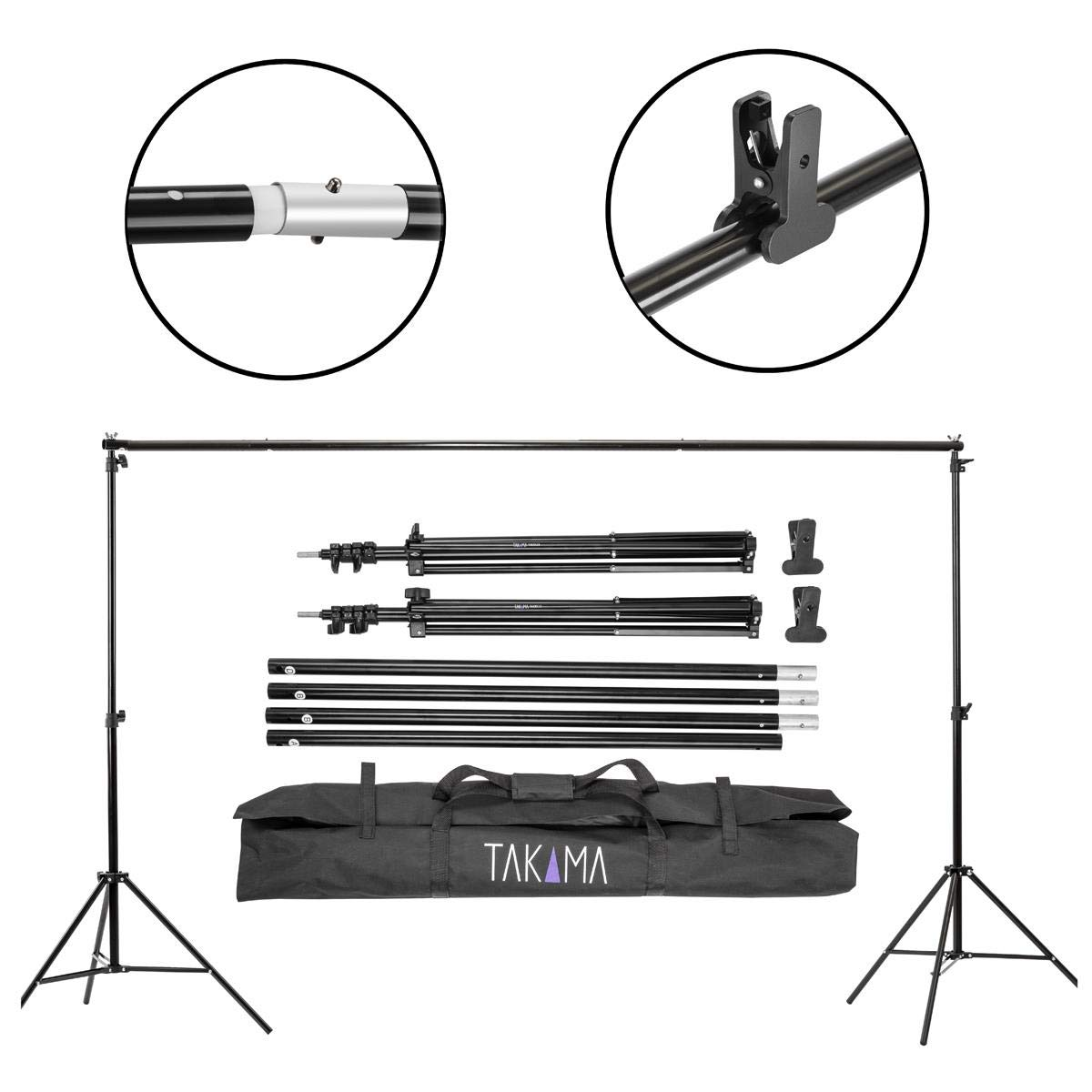 Takama Photo Video Studio 10Ft Adjustable Backdrop Support System Light Stands with Background Holder Kit