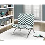 """Monarch Specialties I 8136 Teal """"Chevron"""" Fabric/Chrome Metal Accent Chair, 31"""""""