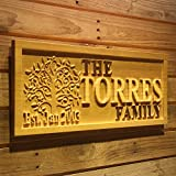 "wpa0052 Personalized Last Name Home Décor Sign with Big Tree 5 Year Wood Anniversary Gift Engraved Wooden 3D Signs - Standard 23"" x 9.25"""