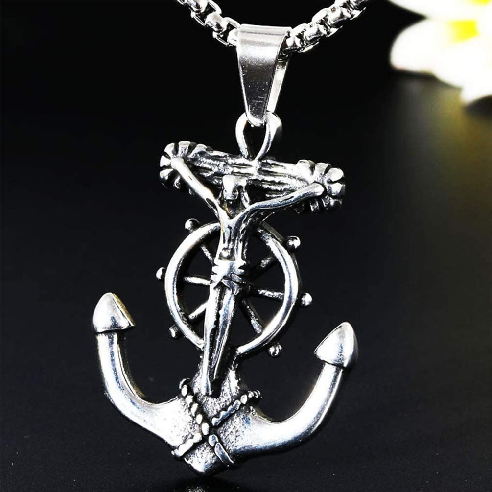 Stainless Steel Casting Pendant,Youth Popular Jewelry Hip Hop Rock Punk Style Linguanzhubao Mariner Crucifix Anchor Cross Pendant Men Necklace