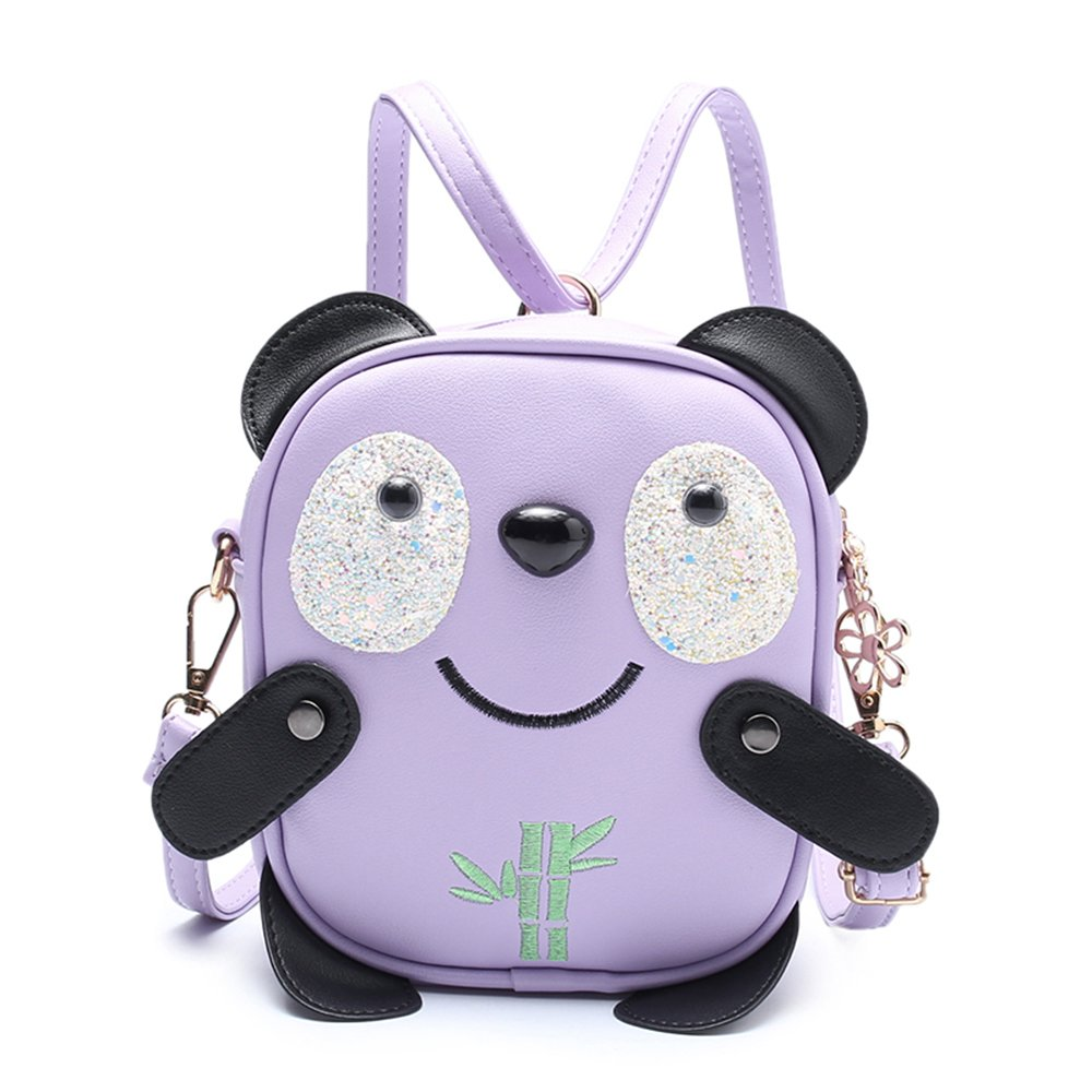 Pinky Family Little Girls Panda and Bamboo Purse Kids Handbags Toddler Purse Cross-Body Bags and Backpacks (Purple)