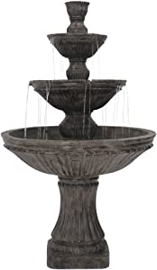 Sunnydaze Classic Designer Outdoor Water Fountain - Large 3-Tiered Fountain & Backyard Waterfall Feature - 55 Inch Tall