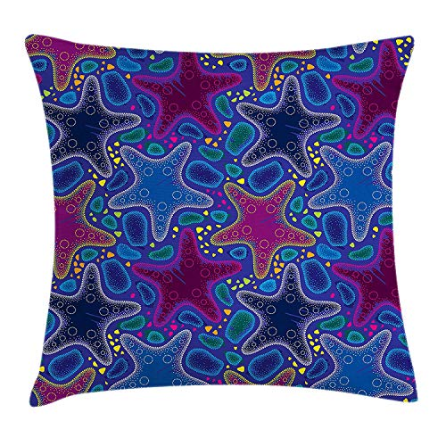 KK-Home Psychedelic Throw Pillow Cushion Cover, Dotted Starfish and Pebbles Maritime Theme Aquatic Animal Pattern Print, Decorative Square Accent Pillow Case, 18 X 18 inches, Turquoise Pink ()
