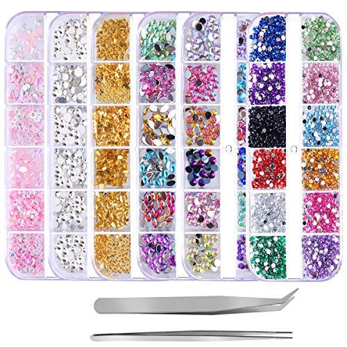 Outee 6 Boxes 3500 Pcs Nail Rhinestones Xmas Gift Nail Art Accessories Kit Nail Art Decoration Resin Crystal AB Round Nail Rhinestones Art with Tweezers