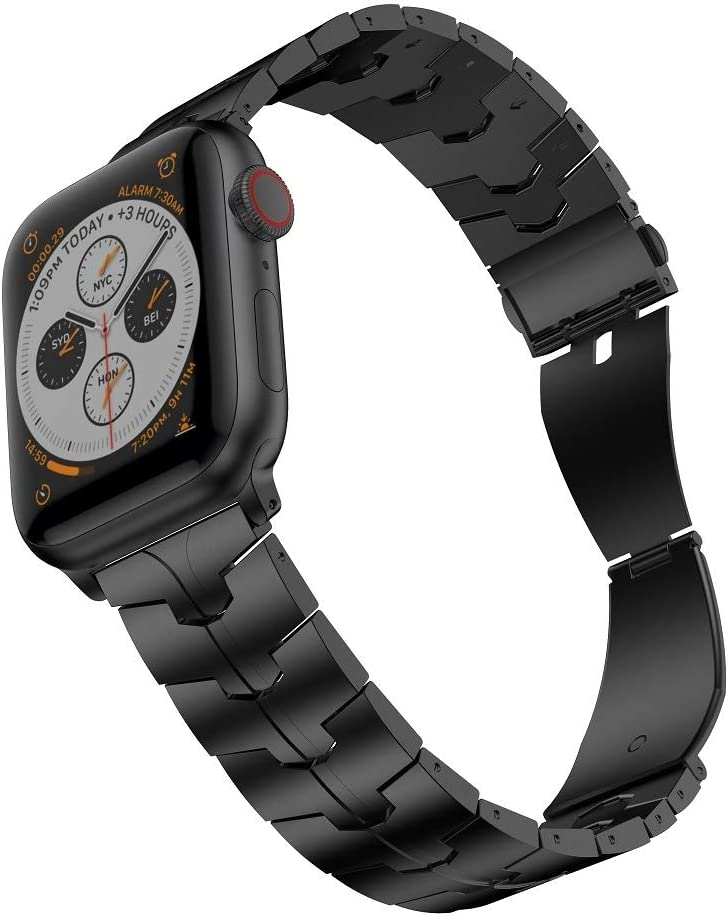 RABUZI Compatible for Apple Watch Band 44mm/42mm,Enamel Process Titanium Metal Watch Replacement Bands Compatible for Apple Watch Series 5/4/3/2/1 Smartwatch,Black