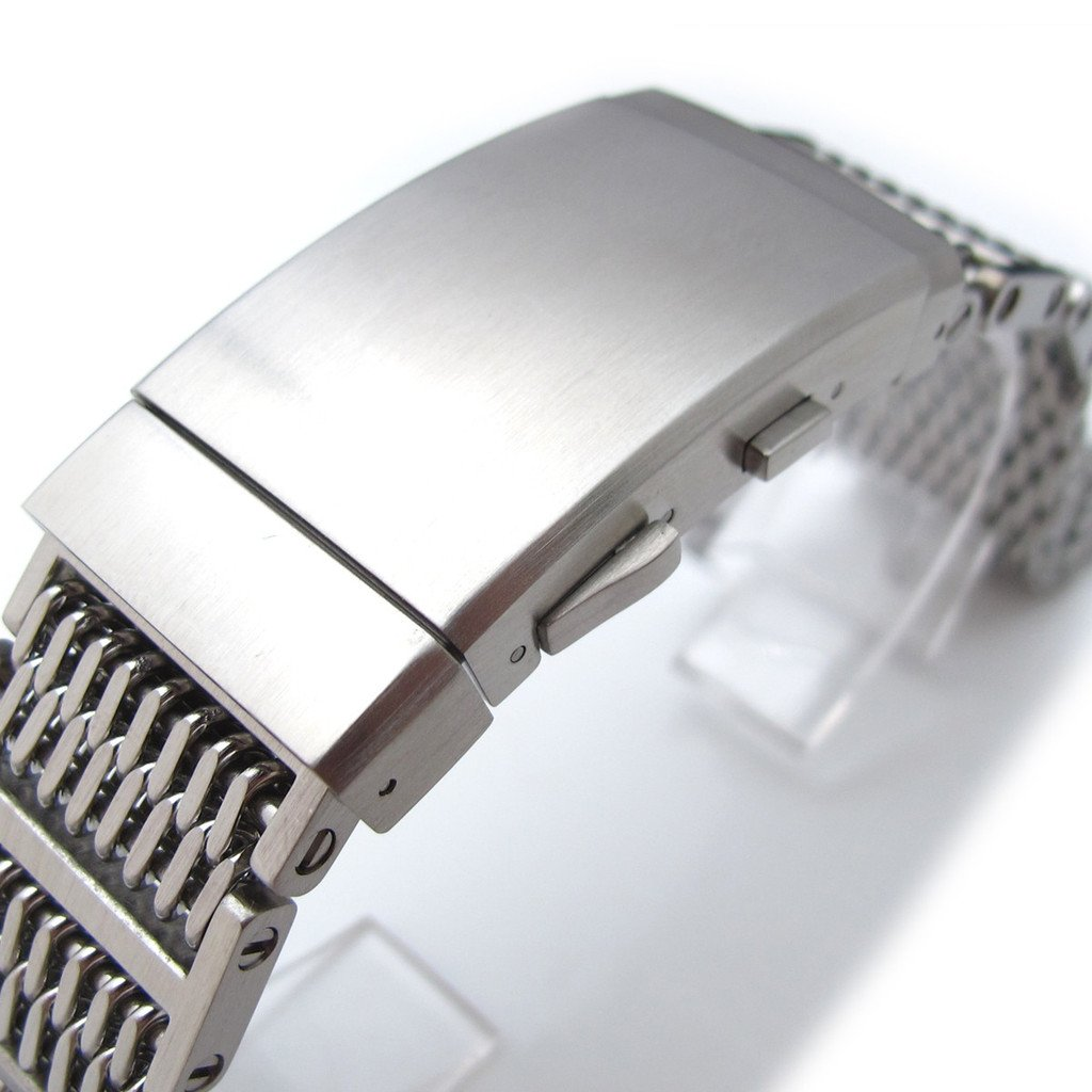 20mm Flexi Ploprof 316 SS ''SHARK'' Mesh Band, Diver Wetsuit Ratchet Buckle, Brushed by 20mm Mesh Band (Image #2)