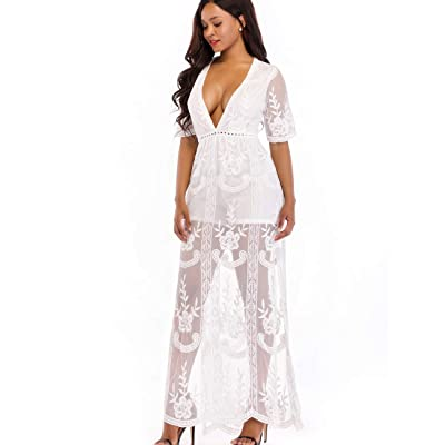BOMBAXCEIBA Women Lace Maxi Long Maternity Gown Photography Romper Dress at Women's Clothing store