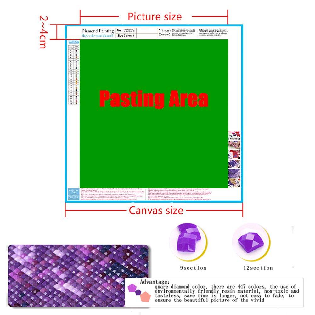 dise/ño de pavo real con diamantes cuadrados completos y herramientas 30X30cm Kit de pintura de bordado de diamantes 5D
