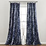 """red patterned curtains  Forest Curtains - Tree Branch Leaf Darkening Window Panel Drapes Set for Living, Dining, Bedroom (Pair), 84"""" x 52"""", Navy"""