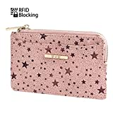 Womens Rfid Blocking Slim Coin Purse - Small PU Leather Card Holder Zip Wallet - Indy Pink