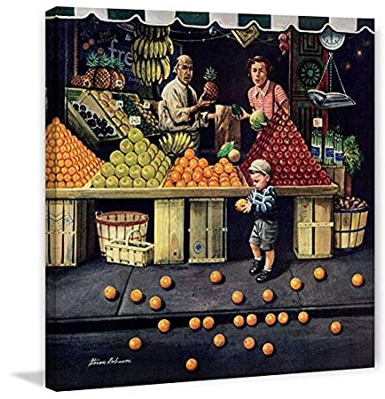 32x32 Marmont Hill Toddler and Oranges by Stevan Dohanos Painting Print on Wrapped Canvas