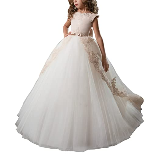 7ea174e8609f0 AbaoSisters Flower Girl Dress Fancy Tulle Satin Lace Cap Sleeves Pageant  Girls Ball Gown White Ivory