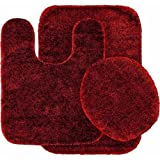 Red Bathroom Mat Set 3 Piece Bath Rug Set Burgundy Bathroom Mat Contour Rug Lid Cover Non Slip latex Bottom