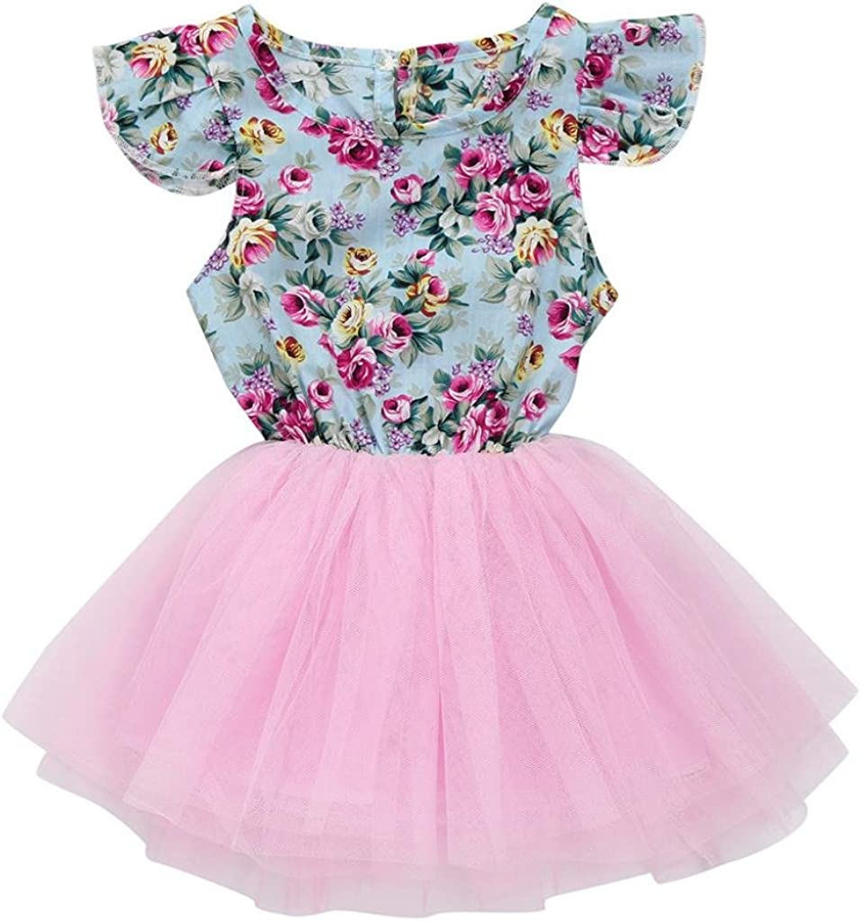 Franterd Floral Dress for Baby Girl Toddler Kids Summer Patchwork Pageant Party Princess Tutu Fancy Dress